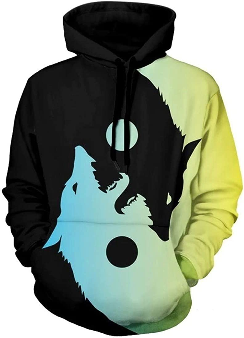Colorful Totem Wolf Yin Yang Space Balance Graphic Men Women Pullover Hoodie Top