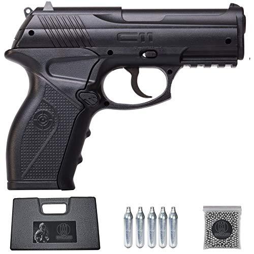 Ecommur. C11 crosman (150 m s)| Pistola de perdigones (Bolas BB s de Acero) de Aire comprimido semiautomática 4,5mm + maletín + balines y CO2