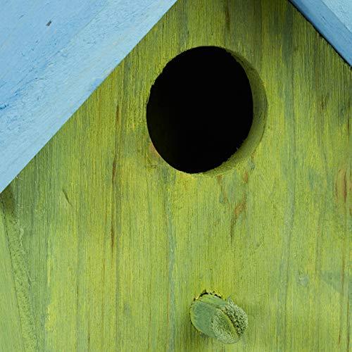 Relaxdays Deko Vogelhaus bunt, aus Holz, Kleines Vogelhäuschen, Frühlingsdeko zum Aufhängen, HBT: ca. 16 x 15 x 8 cm, grün - 6