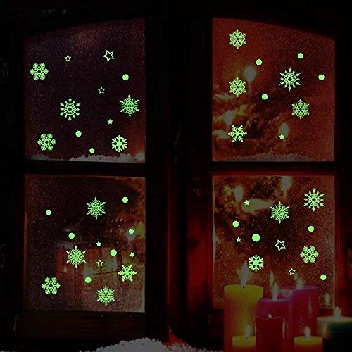 Aomon Schneeflocke Fenster klammert Sich an Aufkleber Glow in Dark für Weihnachten (5Blatt)