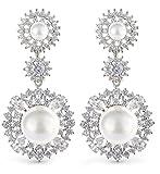 Orecchini da donna, finitura in oro bianco 18 carati, con perle, per matrimonio, compleanno, Natale, anniversario, festa della mamma