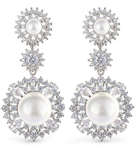 Perlenohrringe für Damen, 18 Karat Weißgold, mit Geschenkbox, Hochzeit, Geburtstag, Weihnachten, Jahrestag, Muttertag