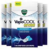 Vicks VapoCOOL Severe, Medicated Drops, Menthol Soothes Sore Throat Pain Caused by Cough, Winterfrost Flavor, 225 Drops (5 Packs of 45)