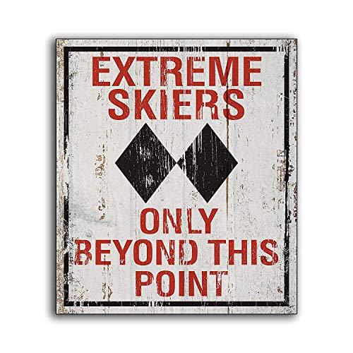 No Brands 30x30cm Extreme Skiers Sci Sci segno di legno sport mancave bar gameroom Lodge Cabin piste Colorado stampa in legno decorazione fatta a mano segni artistici da parete