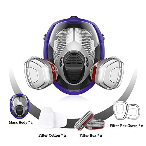 Respirator Gas Mask, Chemcial Full Face Respirator Widely Used in Organic Gas,Paint Spary, Chemical,Woodworking,Dust Protectio