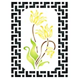 Asian Flowers Stencil, 4.5 x 6 inch (S) - Oriental Chinese Japanese Daffodil Flora Flower Wall Stencils for Painting Template