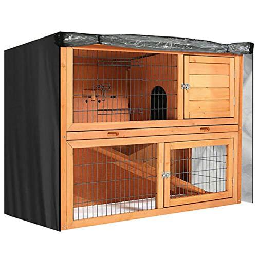 SagaSave Funda universal doble para conejera, resistente a la humedad, cubierta para conejera a prueba de polvo, para goma, gatos, gatito, accesorios para casa de mascotas, marrón, 153 x 65 x 123 cm