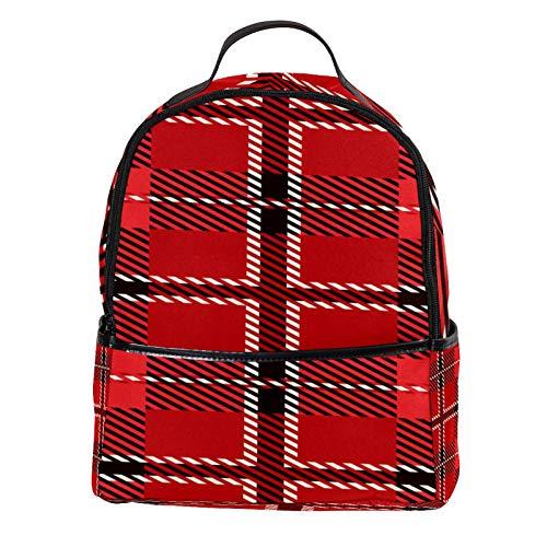 KAMEARI Mochila escolar roja Royal Stewart Tartan Casual Mochila de viaje con bolsillos laterales para botellas