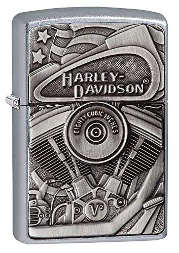 Zippo HarleyDavidson Motor Flag Emblem Street Chrome Pocket Lighter One Size