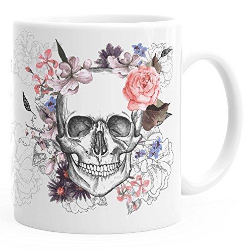Autiga Kaffee-Tasse Totenkopf Blumen Flower Skull Boho Schädel Teetasse Keramiktasse weiß Kaffeetasse