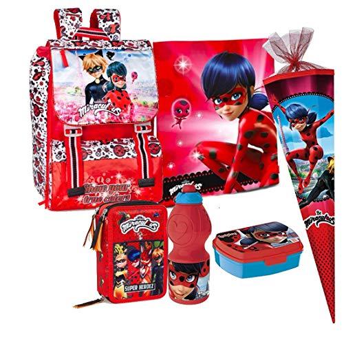 Miraculous Ladybug 6 Teile Set Schulrucksack Rucksack Federmappe Tasche inklusive Sticker-von-Kids4shop Federtasche Schultasche Schultüte 85 cm