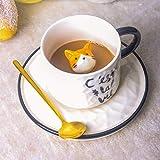 Taza De Café De Vidrio Lindo gato alivio cerámica taza con bandeja de té de leche de café mango porcelana taza regalos novedad Red