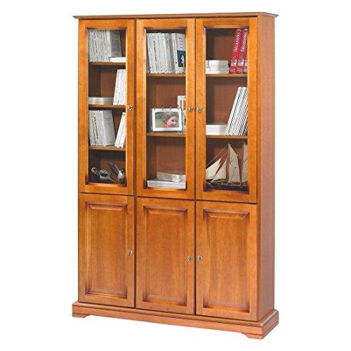 ACTUAL DIFFUSION Alsace Bibliothèque Merisier Louis Philippe 6 Portes Vitrées, Bois, 33x119,6x182,2 cm