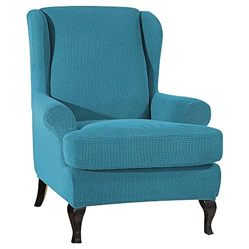 OKJK Zweiteiliger Stuhlbezug und Kissenbezug mit schräger Armlehne, Elastischer Einzelsesselbezug für Ohrensessel, Sofaschutzbezug, (Turquoise Blue)