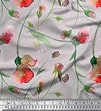 Soimoi Graue Poly Georgette Stoff Blätter & Blumen