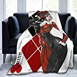 Harley-Quinn Clown Girl Flannel Blanket Super Soft and Comfortable Warm Plush Microfiber Blanket Suitable for Bed Sofa Travel 50'x40'