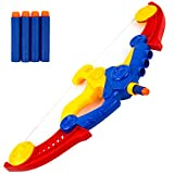 Toysery Toy Bow and Arrow for Kids with 4 Foam Arrows Like Darts - Great Indoor and Outdoor Archery Bow and Arrow Set - Hunting Games for Kids