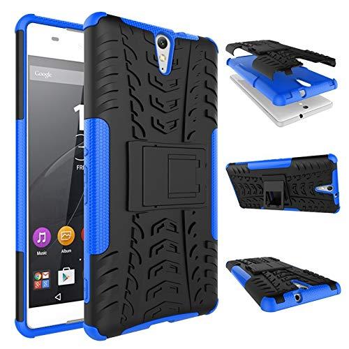 pinlu® Funda para Sony Xperia C5 Smartphone Doble Capa Híbrida Armadura Silicona TPU + PC Armor Heavy Duty Case Duradero Protección Neumáticos Patrón Azul