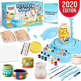 Insnug Pottery Wheel Art Craft Kit – Arts and Crafts Kids Toys Ages 8 9 10 11 12 Polymer Air Dry Modeling Clay Bar Tools Cutters and Wheel Machine, Craft Paint Palette Set Educational Toy Home School