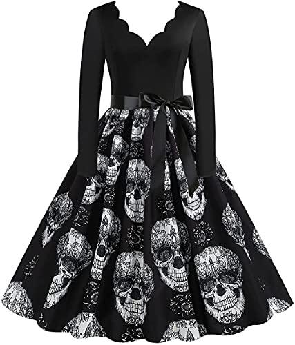 QMHN 2021 Halloween de manga larga Vintage Cóctel Vestidos de fiesta, esqueleto Cosplay fiesta vestido de baile de fin de curso_grande