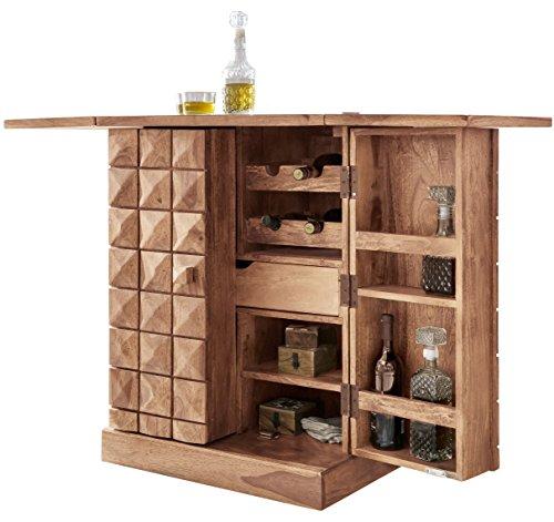 WOHNLING Hausbar Massivholz Akazie Weinbar ausklappbar Vitrine Landhausstil Barschrank Aufbewahrung Flaschen und Glöser Weinschrank Natur-Produkt Getrönkeschrank freistehend braun Echt-Holz Minibar