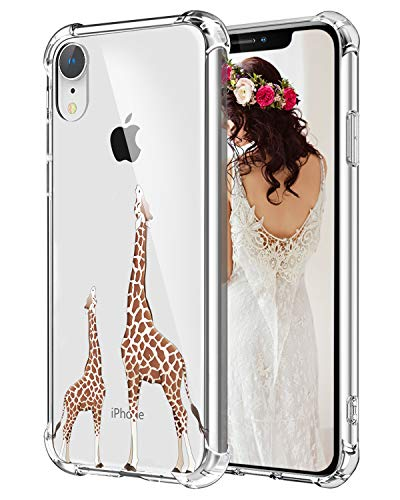 Hepix Giraffe iPhone XR Case Cute Lovely Animals iPhone XR Clear Cover, Slim Protective TPU Frame Anti-Scratch Shock Absorbing Case with Reinforced Bumper