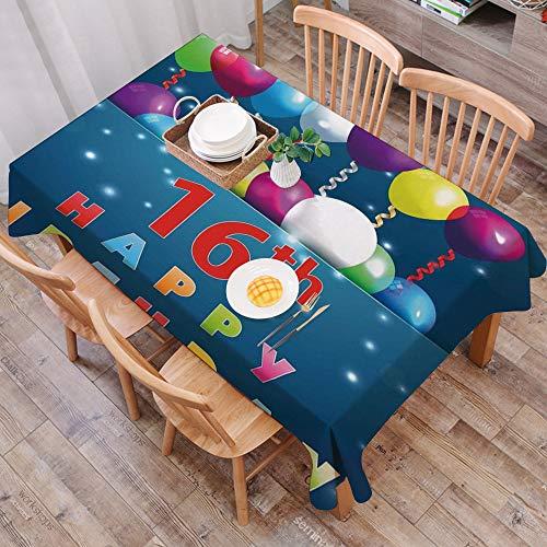Moderno Mantel Antimanchas Rectangular Mantel Lavable,Decoraciones para el 16º cumpleaños, imagen de celebración del Kitsch Sw,Resistente al Agua Apto Uso Exterior e Interior (140 * 200cm/55 * 78inch)