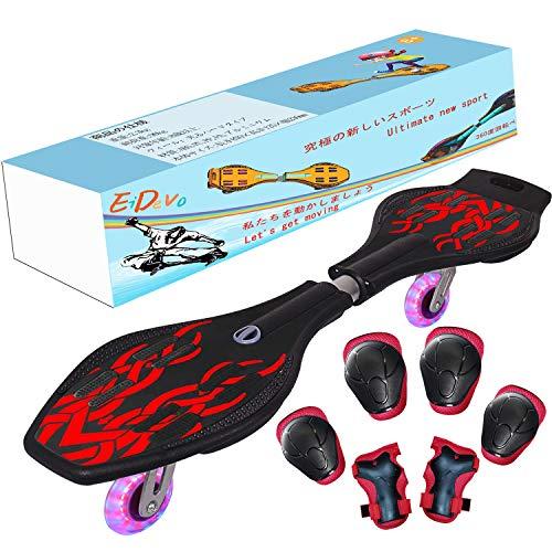 EiDevo Waveboard, Double Wheel Scooter Caster Board mit LED-Blitzrad Wave Board Geburtstagsgeschenk Anti-Rutsch-Schlangenbrett Geeignet für Kinder und Jugendliche Anfänger Skateboard (Rot)