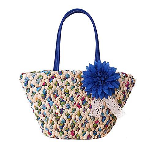 YGGY Flores de Moda Bolsos de MujerBolso de Playa de Verano Bolso de Paja Tejido de ratán Hecho a Mano Bolsos de Hombro de Cesta Tejida de Color para Mujer Saco, Azul