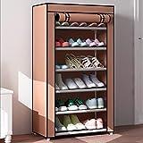 XBDD Zapatero moderno de 6 niveles para 18 pares de zapatos, organizador de almacenamiento de zapatos, 60 x 30 x 105 cm (color: marrón)