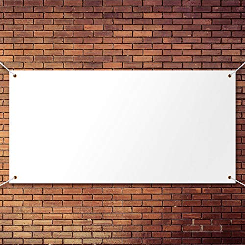 Large Banners and Signs Blank Banner Polyester Oxford Cloth Banner with Hanging Rope for Indoor Wall Outdoor Easy Hang Signs DIY Banner Signs for Business Office and Activities (White, 2 x 4 Feet)