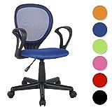 SixBros. Bürostuhl,Schreibtischstuhl, Drehstuhl für's Büro oder Kinderzimmer, stufenlos höhenverstellbar, Schreibtischstuhl für Kinder aus Stoff, blau, H-2408F/2059