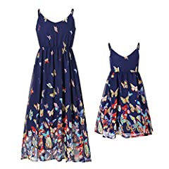 Made of high quality lightweight fabric,soft,comfortable, skin friendly and breathable Sleeveless,Spaghetti Straps,Above Knee length,stretchy waistline Butterfly Print,linning,swing dress make you look fantasty. Dress like mommy is a magic thing for ...