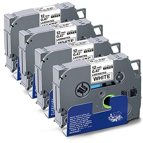 UniPlus Compatibile per Brother TZe-231 TZ-231 12mm x 8m Nero su Bianco Nastro Cassette Etichette per Brother P-Touch PT-1000 PT-1010 PT-H100R PT-H107B PT-H105 PT-H100LB PT-E100 PT-1830VP, 4 Pezzi