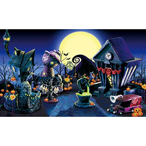 Allenjoy 5x3ft Nightmare Before Christmas Backdrop Halloween Pumpkin Jack Lantern Haunted House Photograhy Background Birthday Baby Shower Wedding Party Supplies Decoration Photo Booth