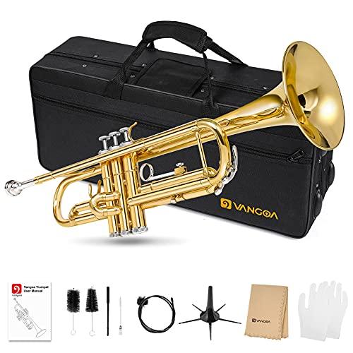 Vangoa Bb Trompete Gold Messing Trompete mit Koffer, Mundstück, Reinigungsanzug, Reinigungstuch