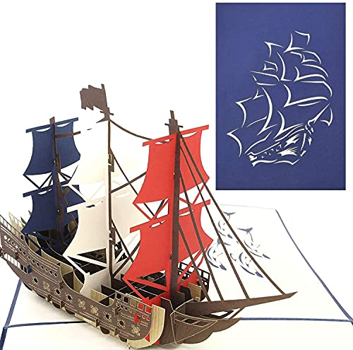 PopLife Man O' War Ship Pop Up Card for All Occasions - Happy...