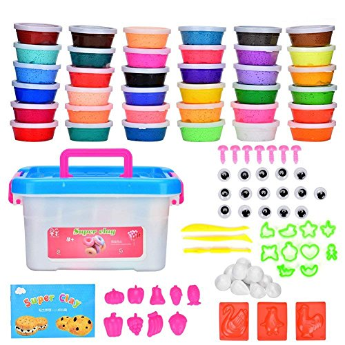 Cozywind Polymer Ton, 36 Farben Clay Kinderknete Set Modelliermasse Springknete Hüpfknete mit Formen, Zubehör, Werkzeuge