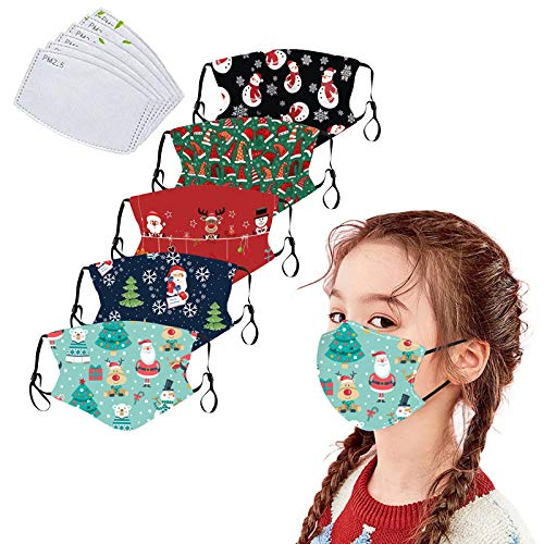5Pack Christmas Cotton Dustproof for Children with Filter Pocket with 6 Pcs Replacement Filters-Washable Xmas Covering (Christmas-D)
