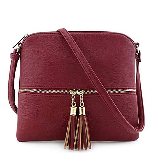 Dorical Handtasche Umhängetasche Damen Vintage Quaste Einfarbig Messenger Tasche Mädchen mit Verstellbarem und abnehmbarem Schultergurt, Schultertasche Shopper Henkeltasche(Rot)