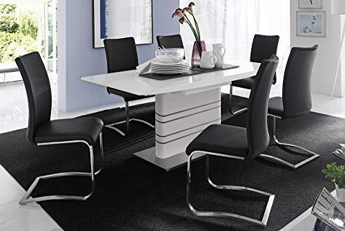 MCA Premium Freischwinger Stuhl ARCO Original schwarz mit gebürstetem Edelstahlrahmen und bestem Sitzkomfort