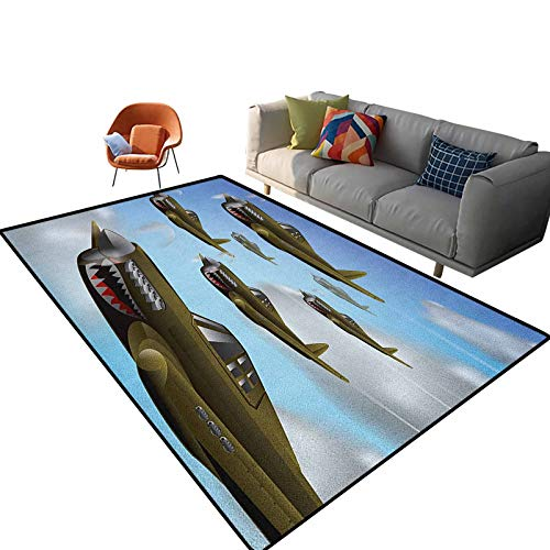 Airplane Floor Carpet Fighter Aircrafts Up in Air Flight Machinery Wings Illustration Technology Indoor Outdoor Kids Play Mat Nursery Throw Rugs 6'x 6'