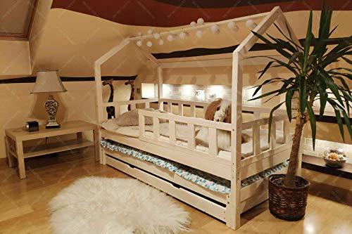 Lit en bois Barrières de sécurité et tiroir, Lit pour Enfants,lit d'enfant,lit cabane avec barrière, 5 Jours...