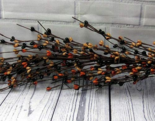 TAKAZOON Floral Décor Supplies for Primitive Pip Berry Garland Black TAN Burnt Orange 48' Crafts Farmhouse Country for Primitive Fall Decor, Christmas Decorations.