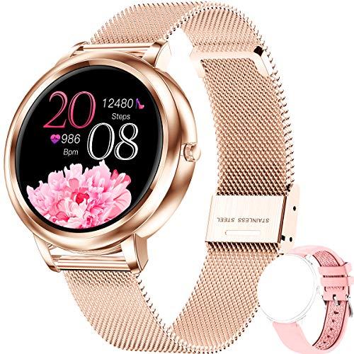 ieverda smartwatch Damen,Fitness Watch Uhr Voller Touchscreen IP68 Wasserdicht Fitness Tracker Sportuhr mit Schrittzähler Pulsuhren Stoppuhr für iOS Android für smartwatch