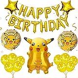 GUBOOM Cumpleaños Pokemon Globos Set, Pokemon Pikachu Foil Globos, Decoración de globos de Pikachu de cumpleaños infantil, Globo de helio Pokémon, Decoración de cumpleaños de Pokémon