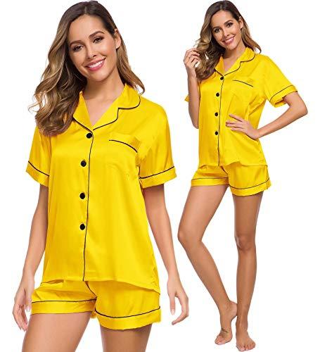 SWOMOG Womens Silk Satin Pajamas Set Two-Piece Pj Sets Sleepwear Loungewear Button-Down Pj Sets Yellow