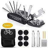 OhiyooTrousse d'outils de vélo, 16 en 1 Ensemble Outils Réparer pour Vélos Réparation, Bicyclette Réparation Kit Outil Multifonction