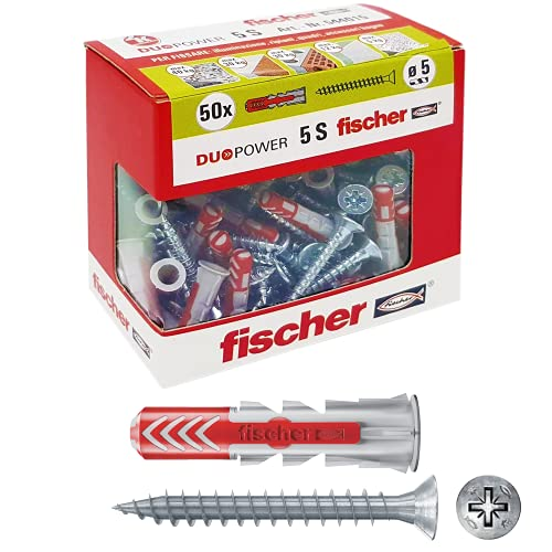 Fischer 544015 tacos con tornillo para Murature llenos, perforadas y yeso, Gris, 5 x 25 mm, juego de 50 piezas