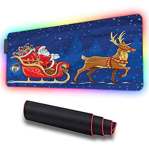 RGB Soft Gaming Mauspad groß, Weihnachtsmann, nachts auf dem Schlitten, übergroßes, leuchtendes, verlängertes Led-Mauspad, rutschfeste Gummibasis, wasserdichte Tastatur-Mausmatte,